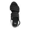 Czarne sandały damskie na słupkach, zwyplatanym wzorem bata, czarny, 769-6634 - 15