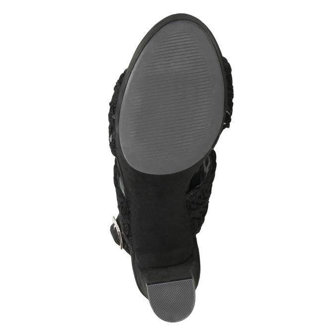 Czarne sandały damskie na słupkach, zwyplatanym wzorem bata, czarny, 769-6634 - 17
