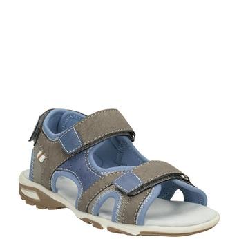 Szaro-błękitne sandały chłopięce zzapięciami na rzepy mini-b, brązowy, 261-3608 - 13
