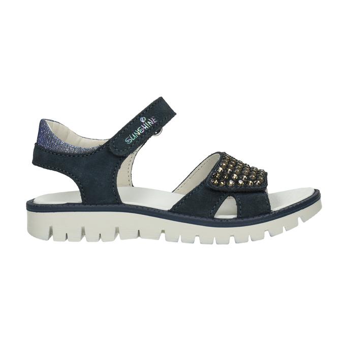 Granatowe skórzane sandały dziewczęce zkryształkami mini-b, niebieski, 463-9603 - 16