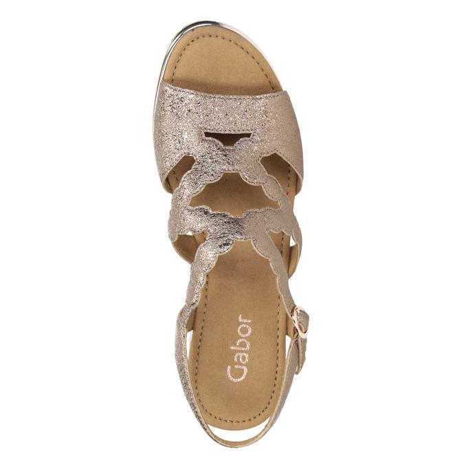 Złote skórzane sandały na platformie gabor, złoty, 766-8043 - 15