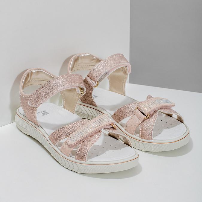 Różowe sandały dziewczęce zkryształkami mini-b, różowy, 361-5612 - 26