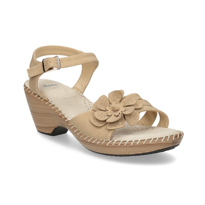 Beżowe sandały zkwiatkiem, beżowy, 661-8613 - 13
