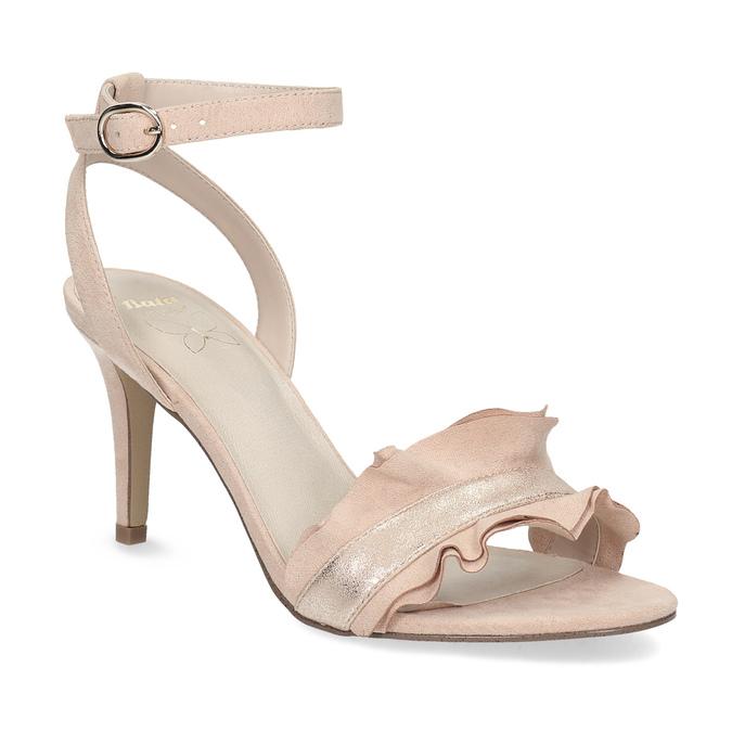 Różowe sandały zfalbanką, na szpilkach insolia, różowy, 769-5619 - 13