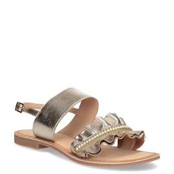 Złote skórzane sandały zperełkami bata, złoty, 566-8632 - 13