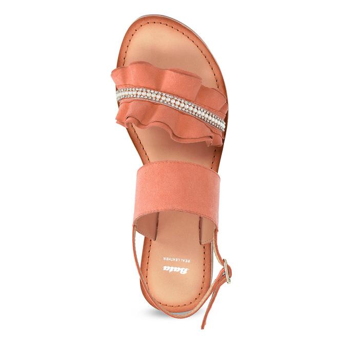 Różowe skórzane sandały damskie zperełkami bata, różowy, 566-5632 - 17