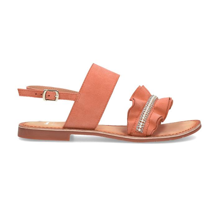 Różowe skórzane sandały damskie zperełkami bata, różowy, 566-5632 - 19