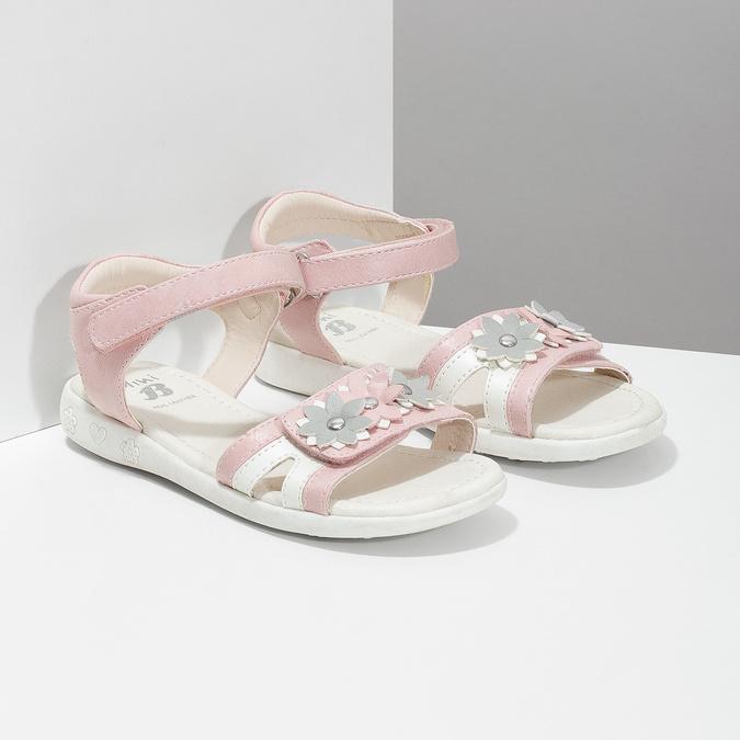 Różowo-białe sandały dziewczęce zkwiatkami mini-b, różowy, 261-5615 - 26