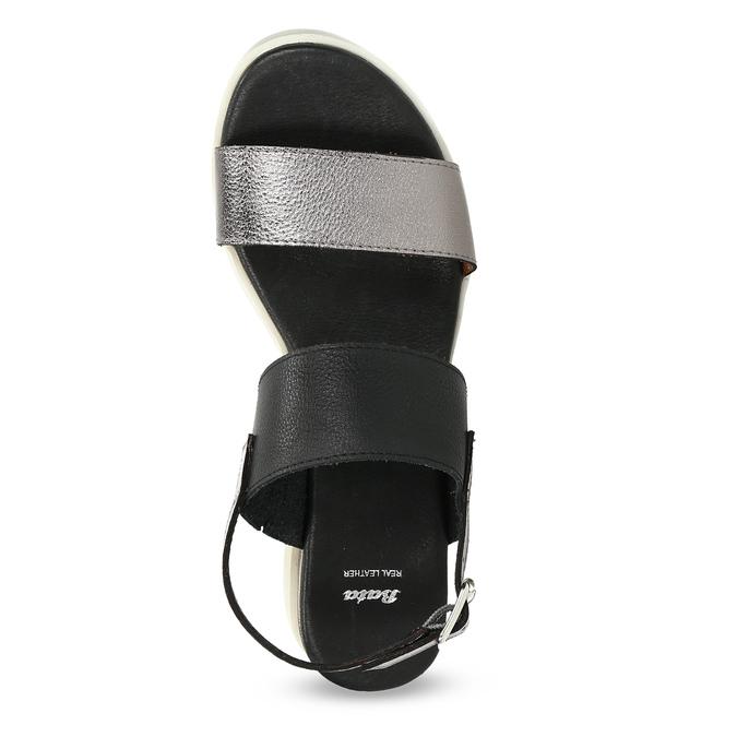 Czarno-srebrne sandały damskie na platformie bata, czarny, 661-6614 - 17