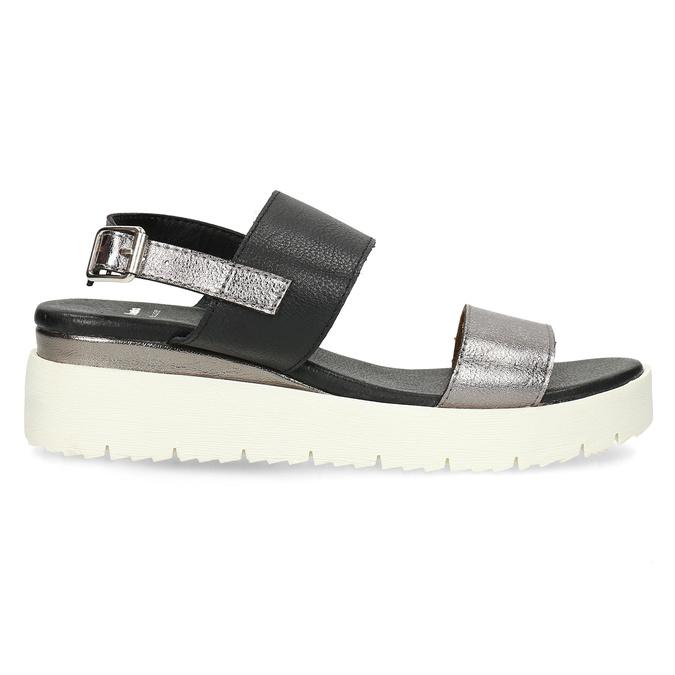 Czarno-srebrne sandały damskie na platformie bata, czarny, 661-6614 - 19