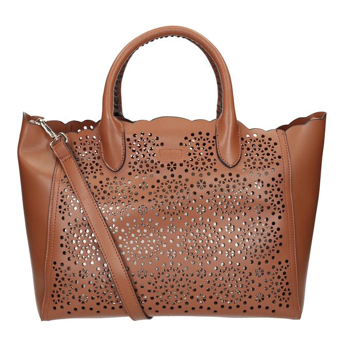 Brązowa torebka damska zperforowanym wzorem bata, brązowy, 961-3265 - 16