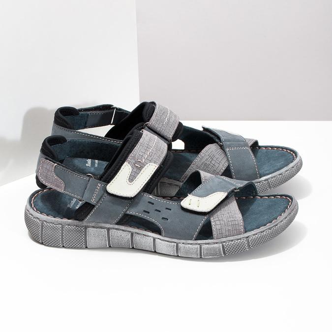 Granatowe skórzane sandały męskie na rzepy bata, szary, 866-9640 - 16