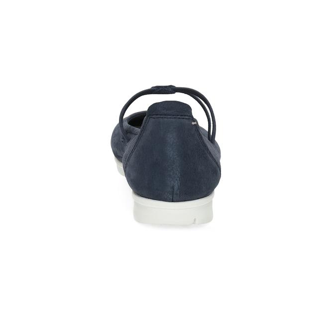 Skórzane baleriny damskie zperforacją bata, niebieski, 526-9662 - 15