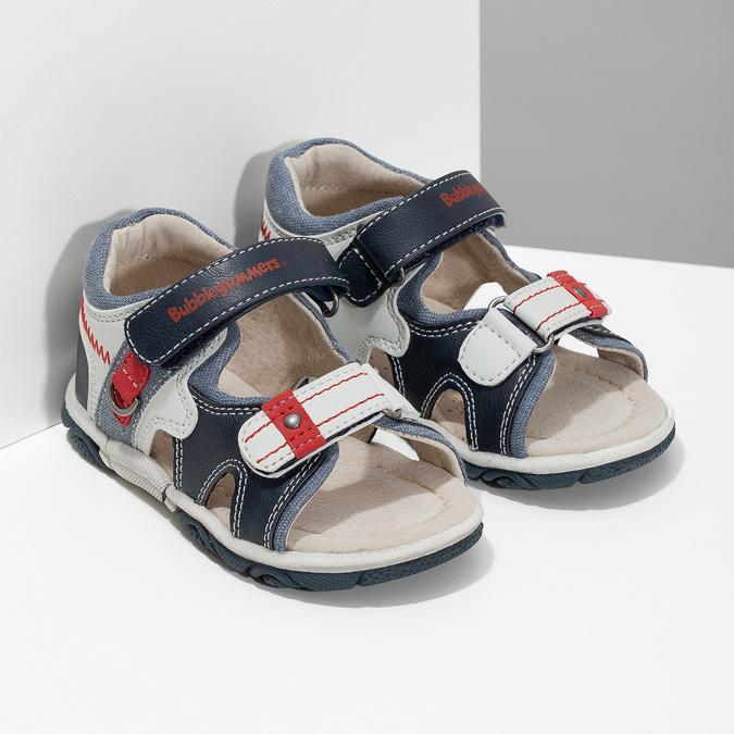 Granatowo-białe sandały dziecięce bubblegummer, niebieski, 161-9606 - 26