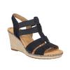 Granatowe skórzane sandały na koturnach gabor, niebieski, 763-9013 - 13