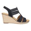 Granatowe skórzane sandały na koturnach gabor, niebieski, 763-9013 - 26
