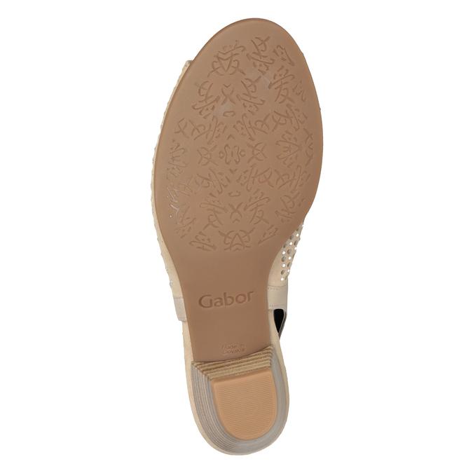 Beżowe skórzane sandały oszerokościH, zkryształkami gabor, beżowy, 663-8019 - 17