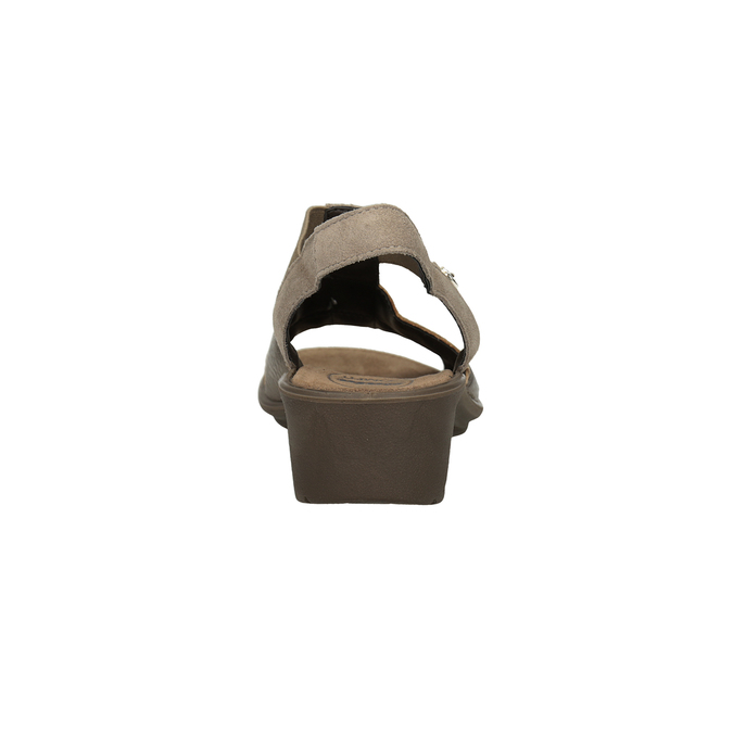 Skórzane sandały na koturnach comfit, brąz, 666-8620 - 15