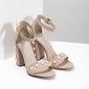 Sandały damskie zperełkami, na słupkach insolia, różowy, 769-5623 - 26