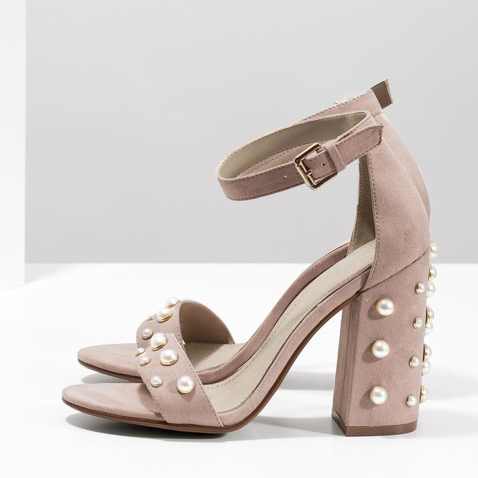Sandały damskie zperełkami, na słupkach insolia, różowy, 769-5623 - 16