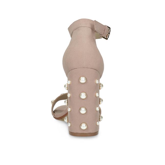 Sandały damskie zperełkami, na słupkach insolia, różowy, 769-5623 - 15