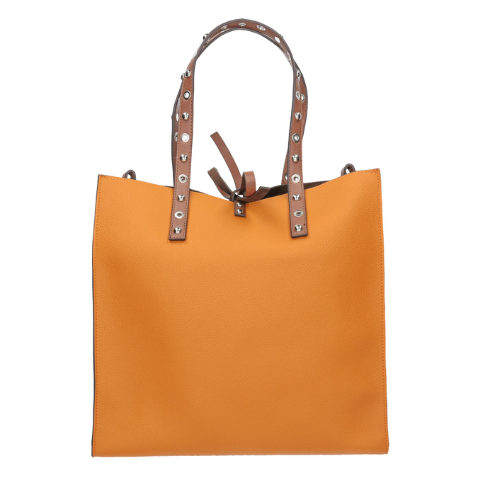 Pomarańczowa torebka wstylu shopper zćwiekami bata, brązowy, 961-3296 - 26