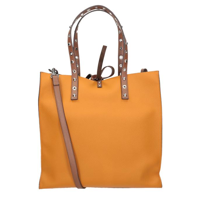 Pomarańczowa torebka wstylu shopper zćwiekami bata, brązowy, 961-3296 - 16