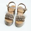 Skórzane sandały damskie na platformie bata, beżowy, 763-3601 - 16