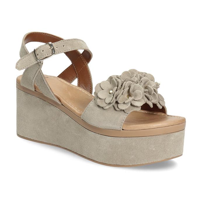 d1b08d99e5ffae Skórzane sandały damskie na platformie bata, beżowy, 763-3601 - 13