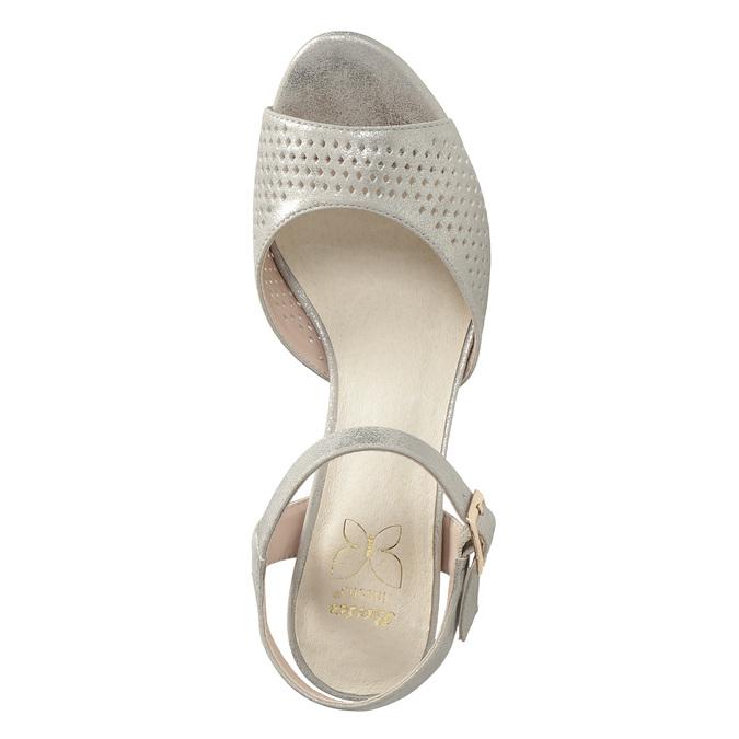 Srebrne perforowane sandały damskie na obcasach insolia, srebrny, 761-8618 - 17