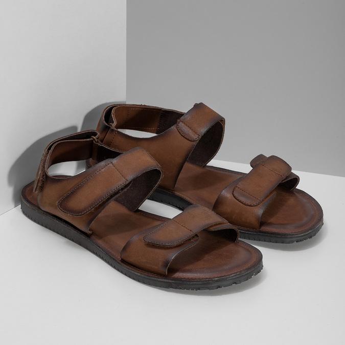 Brązowe skórzane sandały męskie bata, brązowy, 866-4633 - 26