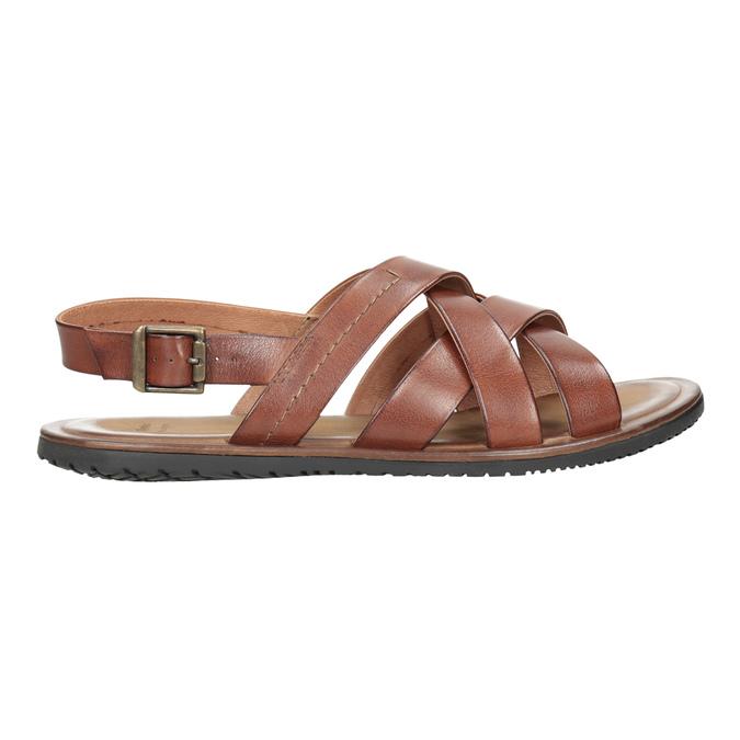 Brązowe skórzane sandały męskie bata, brązowy, 866-3602 - 16