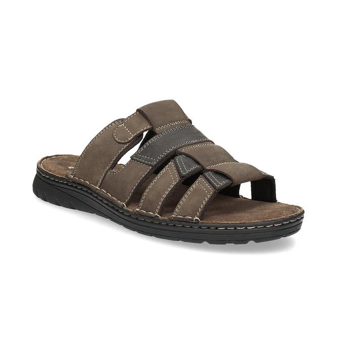 Brązowe skórzane klapki męskie bata, brązowy, 876-4600 - 13