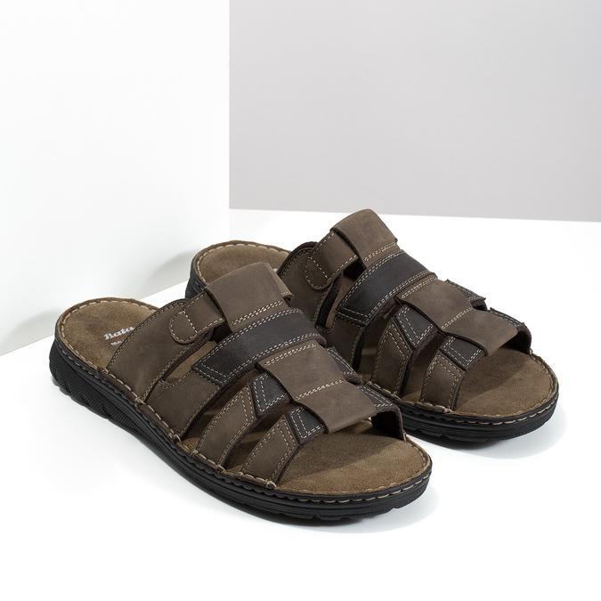 Brązowe skórzane klapki męskie bata, brązowy, 876-4600 - 26