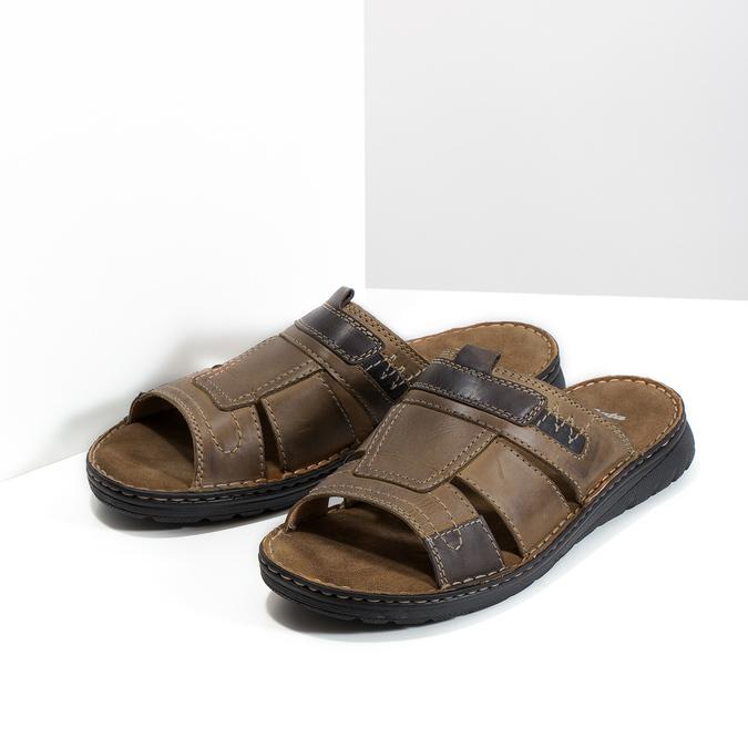 Skórzane klapki męskie zprzeszyciami bata, brązowy, 866-4615 - 26