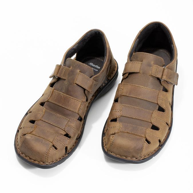 Brązowe skórzane sandały męskie bata, brązowy, 864-4600 - 16