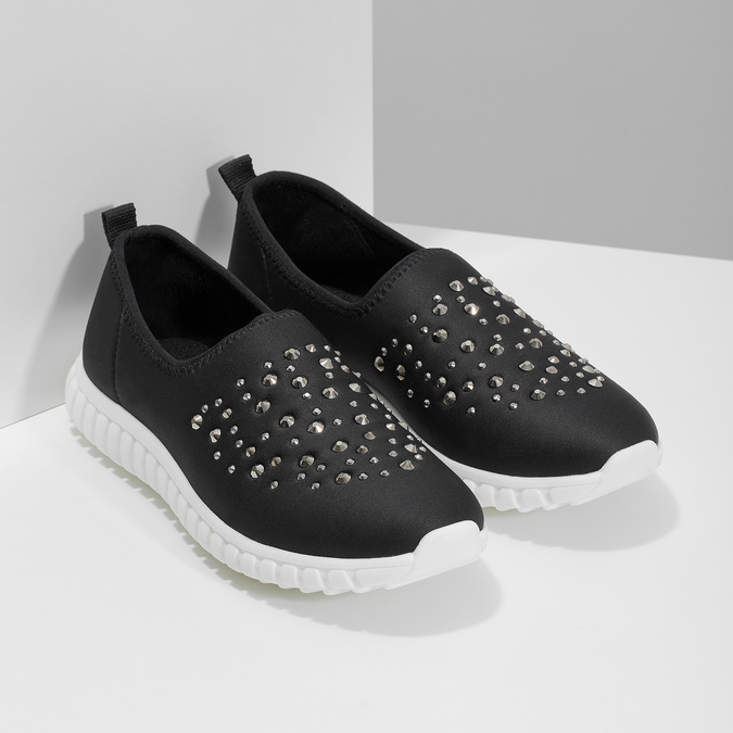 Wsuwane buty damskie zkryształkami bata-red-label, czarny, 539-6604 - 26