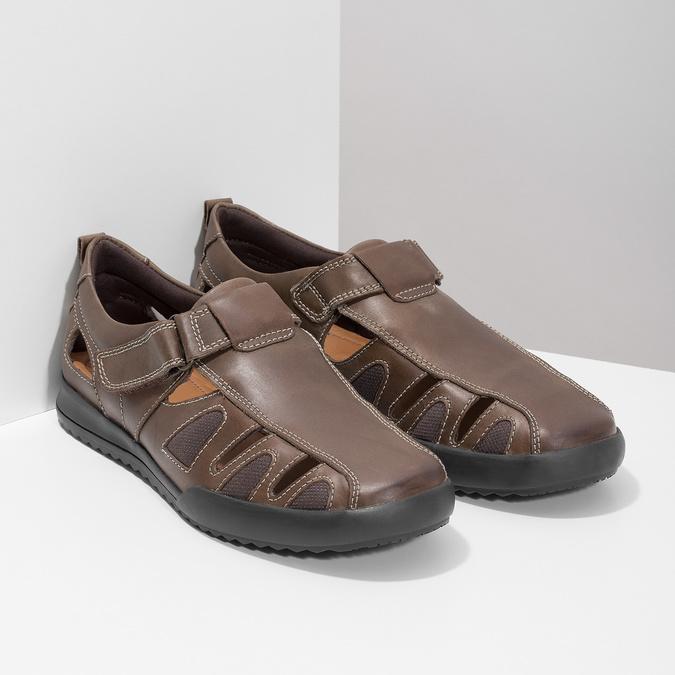 Skórzane sandały męskie comfit, brązowy, 856-4605 - 26