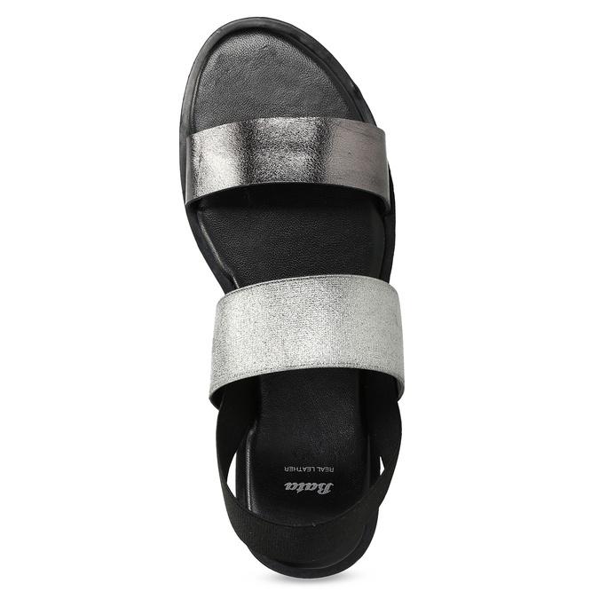 Czarno-srebrne skórzane sandały damskie bata, czarny, 566-6638 - 17