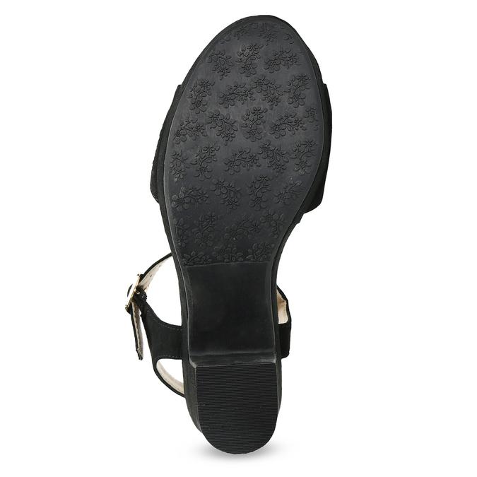 Czarne sandały na grubych obcasach, zkryształkami insolia, czarny, 669-6624 - 18