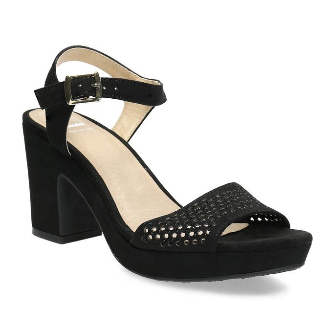 Czarne sandały na grubych obcasach, zkryształkami insolia, czarny, 669-6624 - 13