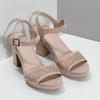 Sandały na grubych obcasach, zkryształkami insolia, różowy, 669-8624 - 26
