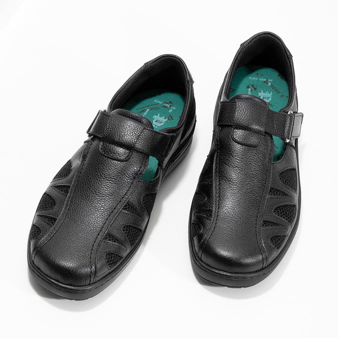 Skórzane sandały męskie weleganckim stylu pinosos, czarny, 864-6625 - 16