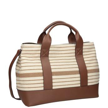 Brązowo-beżowa torebka wpaski bata, beżowy, 969-1307 - 13