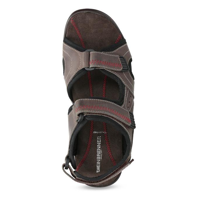 Brązowe skórzane sandały męskie na rzepy weinbrenner, brązowy, 866-4635 - 17