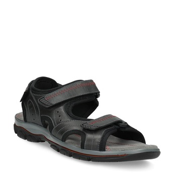 Czarne skórzane sandały męskie na rzepy weinbrenner, czarny, 866-6635 - 13