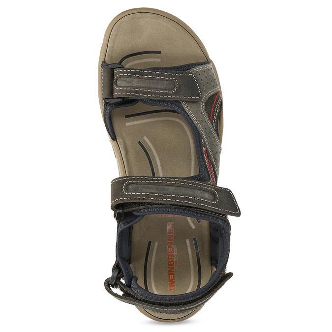 Brązowe skórzane sandały na rzepy weinbrenner, brązowy, 866-4642 - 17