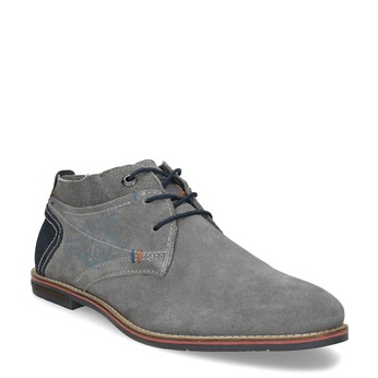 Szare zamszowe buty wstylu chukka bugatti, szary, 823-2015 - 13