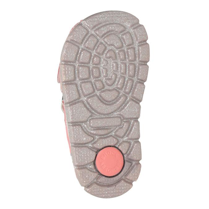 Skórzane sandały dziewczęce znadrukiem mini-b, różowy, 166-5604 - 19