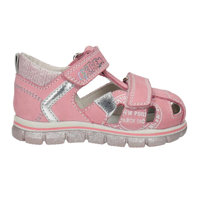 Skórzane sandały dziewczęce znadrukiem mini-b, różowy, 166-5604 - 16